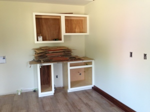 Laundry cabinets ready for doors