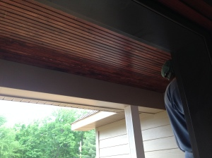 Installing the tongue-and-groove porch ceiling