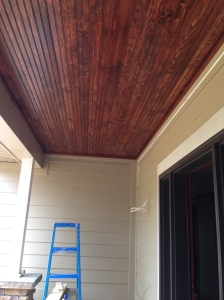 Finished porch ceiling