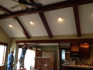 Installed the large beam that separates the family room from kitchen/dining