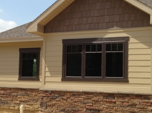 Close-up of front window trim