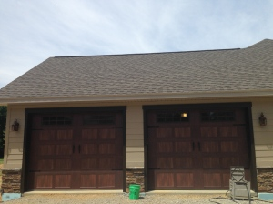 Trim around the garage doors painted bronze