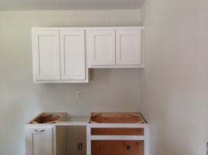 Doors on laundry cabinets