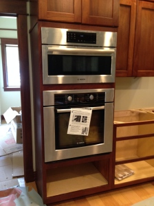 Built-in microwave above the wall oven