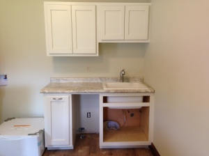 Counter-top, sink and faucet installed