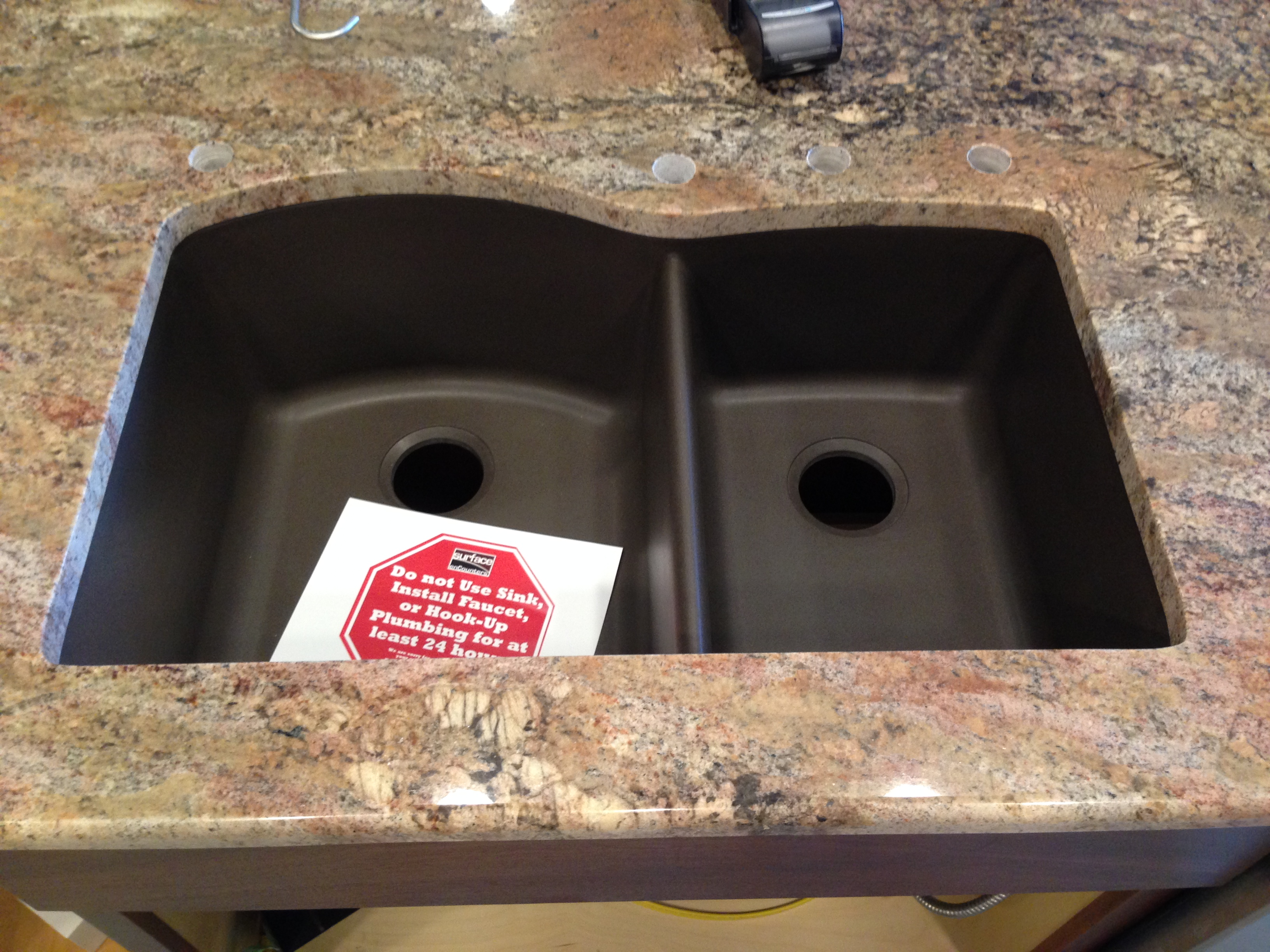 This Is Close Up Of Island With Blanco Cafe Brown Sink: