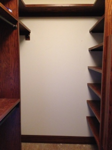 Shelves to the right; straight ahead will be a mirror