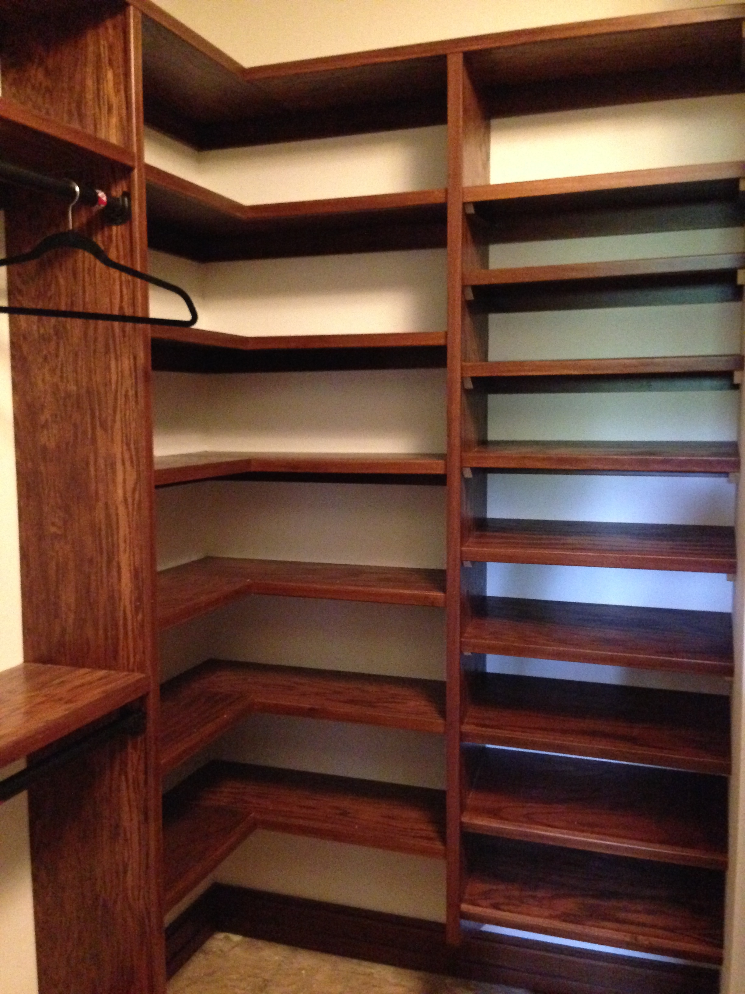 My shoe rack to the right; Billu0027s corner shelves to the left