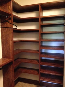 My shoe rack to the right; Bill's corner shelves to the left
