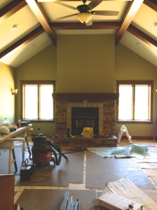 Family room with fireplace mantel