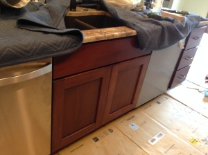 Sink base doors in island